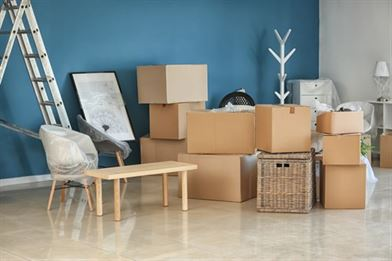 Household items boxed up ready for move